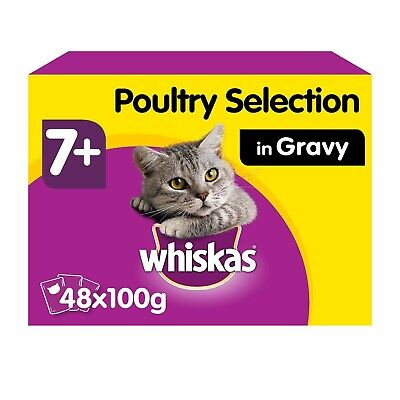 48 X 100g Whiskas 7+ Senior Wet Cat Food Pouches Mixed Poultry In Gravy • 14.72£