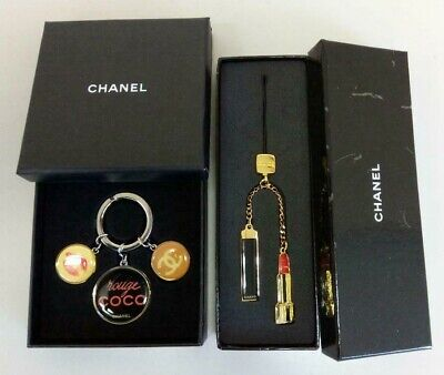 £114.33 • Buy CHANEL Key Ring Holder Charm Chain Strap Novelty Authentic Coco Mark Set Of 2