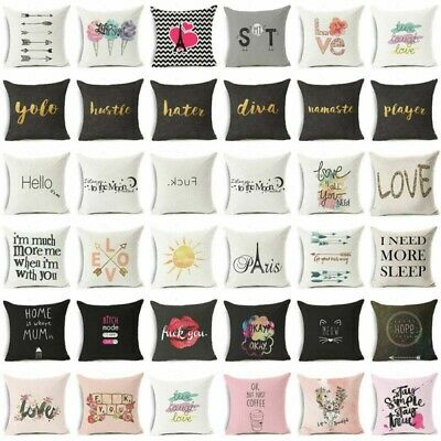 18  Funny Art Words Cotton Linen Pillow Case Sofa Throw Cushion Cover Home Decor • 2.77£