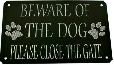 £5.99 • Buy Close The Gate Sign Beware Of The Dog Plaque Plate Black High Gloss Metal 5 X3