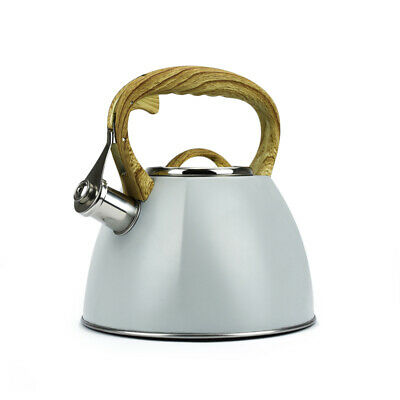 Grey Whistling Kettle 3.0L Stainless Steel Induction Gas Stove Modern Rapid Boil • 22.99£