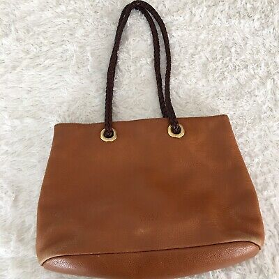 0545c08801 DESMO Brown Leather Hobo Shoulder Tote Purse Bag ITALY • 9.00