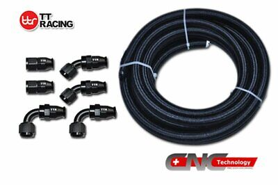 AU68.60 • Buy 8-AN AN8 Black Nylon PTFE Fuel Hose Black 12FT 3.5M Swivel Teflon Fitting Kit