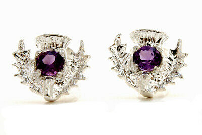 Sterling Silver Amethyst Scottish Thistle Stud Earrings Gift Boxed Made In UK • 15.99£