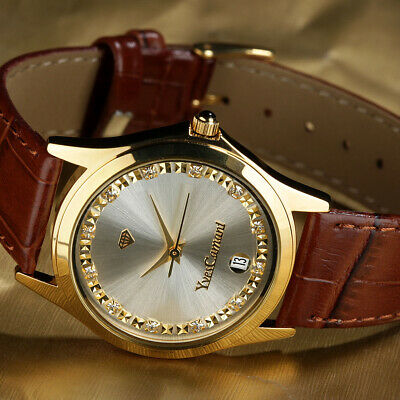 £35.98 • Buy Yves CAMANI Gold Twinkle  Mens, Womens - Unisex Watch With Leather Strap