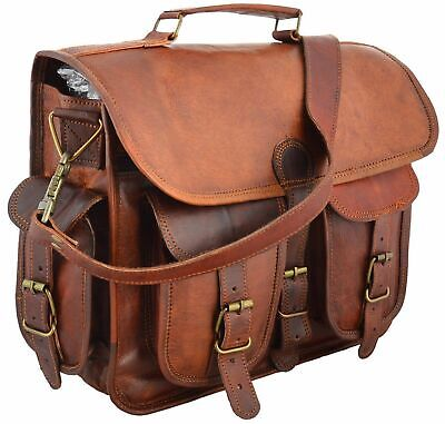 Men's Genuine Vintage Leather Messenger Laptop Briefcase Satchel Women Bag Brown • 39.99£