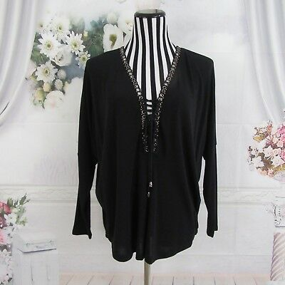 $ CDN34.15 • Buy Ariella Black Long Sleeve Laced Up V Neck Top Blouse Size S