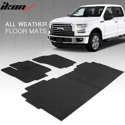 Fits 15-19 Ford F-150 F150 Heavy Duty Black Latex Floor Mats Front & Second Row • 49.99$