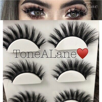 05c92d1f7b6 Mink Lashes 3D Extension False Eyelashes Lashes Fluffy Doll 3 Pairs | US  Seller • 8.98
