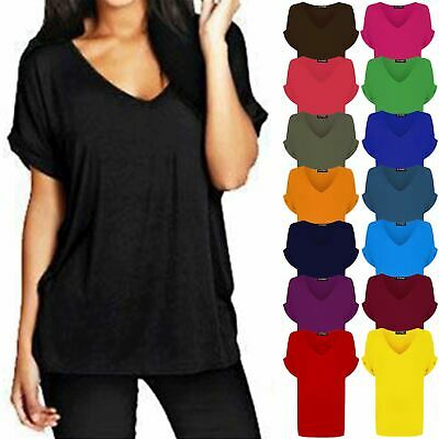 £3.99 • Buy Ladies Womens Baggy V Neck Turn Up Sleeve Oversize Loose Fit Batwing Top T-shirt
