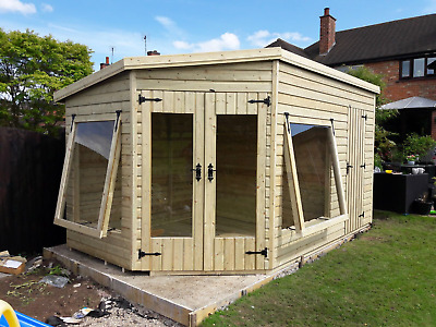 14'x8' 19mm TANALISED T&g Shiplap CORNER Summerhouse/shed Combi, Pent Roof. • 2,810£