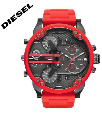 4d7a3871febd New Diesel DZ7370 Mr. Daddy 2.0 4-Time Multiple Zone Red Chronograph Men s  Watch