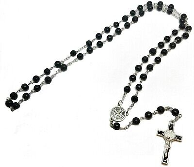 Black Glass Bead Rosary St. Benedict Catholic Prayer Beads Necklace 6mm  • 3.75£