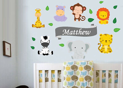 Personalised Jungle Animals & Leaves Wall Stickers Zebra Lion Tiger Elephant • 8.99£
