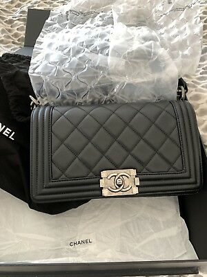 22a21570d7af 100% Authentic Chanel Le Boy Calfskin Old Medium Black Quilted Flap Bag •  4,250.00$