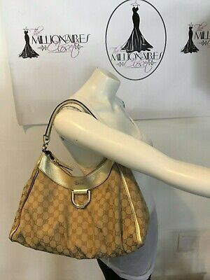 3891b53070f Gucci 114319 Nylon Gg Abbey D Shoulder Bag Gold Leather • 259.99
