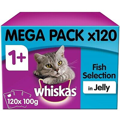 120 X 100g Whiskas 1+ Adult Wet Cat Food Pouches Mixed Fish In Jelly • 29.14£