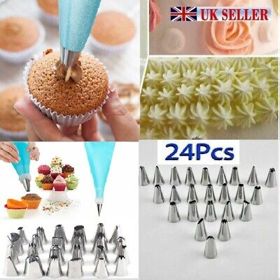 £4.49 • Buy 24 Pieces Icing Piping Nozzle Tool Set Cake Cupcake Pastry Sugarcraft Decorating