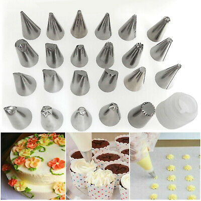 24 Pieces Icing Piping Nozzle Tool Set Pastry Cake Cupcake Sugarcraft Decorating • 4.89£