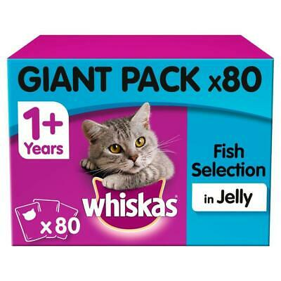 80 X 100g Whiskas 1+ Adult Wet Cat Food Pouches Mixed Fish In Jelly • 18.99£