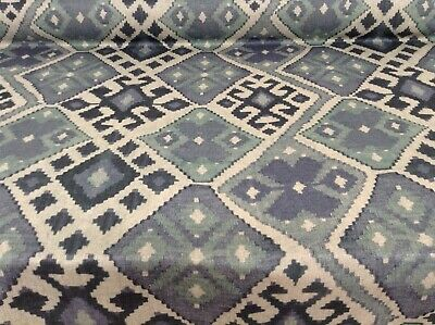 Andes Aztec Ikat Blues/Greens Linen 140cm Wide   Curtain/Upholstery Fabric  • 15.50£