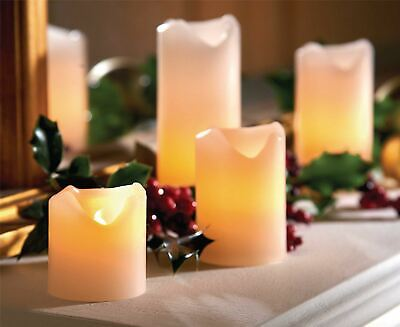 4 LED Church Candles Electric Flameless Cream Ivory Pillar Real Wax Flickering • 12.95£