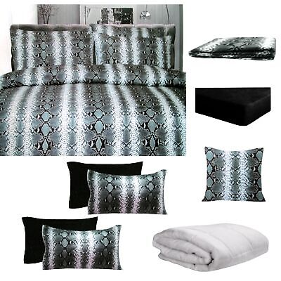 8 Pce Bed In A Bag Bed Pack Set Snake Skin Black By Big Sleep - ALL SIZES • 52.26£