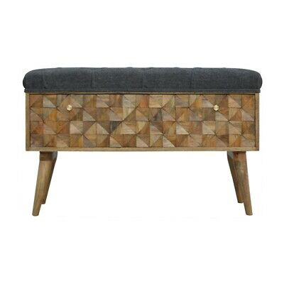 Hand Carved Ottoman Storage Bench With Upholstered Tweed Seat • 298£