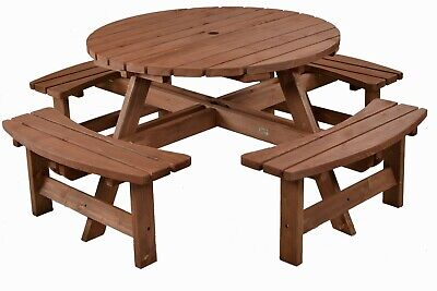 Brown Picnic Pub Bench 8 Seater Round Wooden Garden Table Free Delivery • 307£