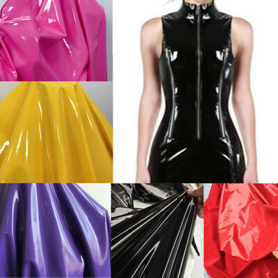 Vinyl Faux Leather Wet Look Glossy Shinny Fabric Mirrored Stretch Dress Bag 57 W • 13.99£