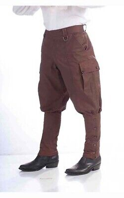 Brown Steampunk Victorian Adult Mens Pants Western Trousers Costume • 28.28£