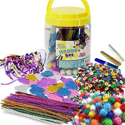 Kids Art & Craft Jar Mega Art Set Pom Poms Beads Paper Foam Glitter Hearts Glue • 5.99£