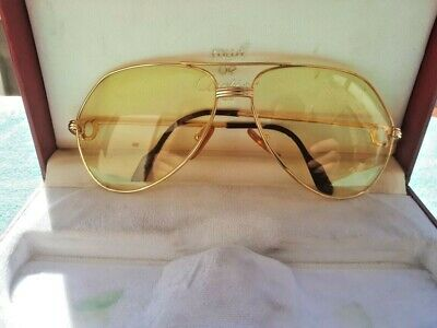 57649b6acac OCCHIALI CARTIER VENDOME LOUIS Yellow LENS VINTAGE SUNGLASSES FRANCE 18K  GOLD • 450.00