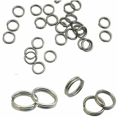 Thick Strong STAINLESS STEEL 10mm Keyring 'Split Rings' Key Chain Links Rhodium • 1.69£