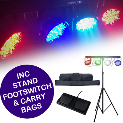 Partybar V2 LED Parbar Kit With Bag, Stand And Foot Controller DMX Stage Light B • 79.99£