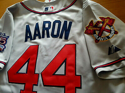 012c2f391 GREY Brand New Atlanta Braves  44 Hank Aaron Majestic WS All Sewn Jersey  MEN S •