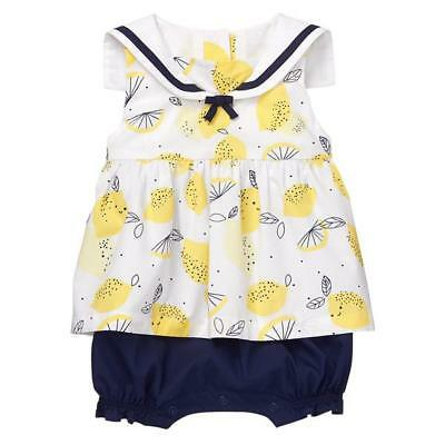 eaf96c89ee1e NWT Gymboree Bright Days Ahead Lemon Sailor 1 Pc Romper Baby Girl 0-3-