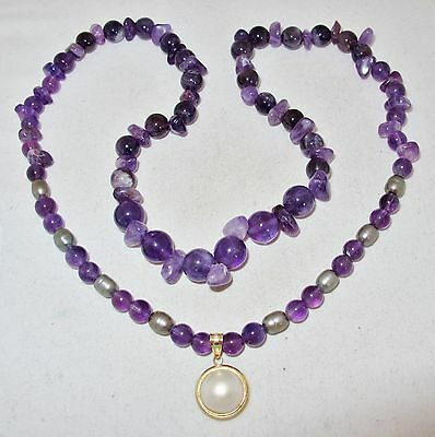 $249 • Buy 23  Purple Amethyst & Gray Pearl Necklace W/ 14K Yellow Gold Mabe Pearl Pendant