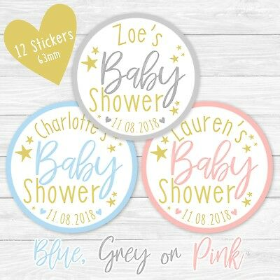 Personalised Baby Shower Stickers Round Labels Thank You Favour Gold Stars Party • 2.49£