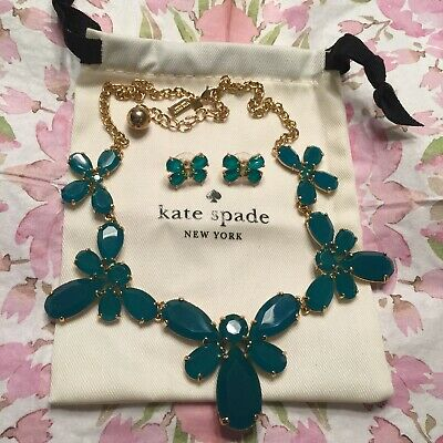 $ CDN139.07 • Buy STUNNING Kate Spade Garden Path Necklace & Earrings Emerald Green Butterfly SET