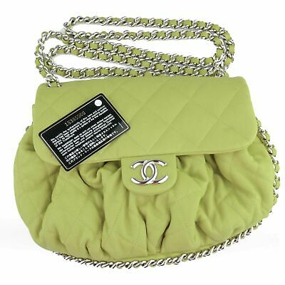 fb4b0d1a1477 New Chanel Chain Around Flap Bag Green Quilted Leather Large Cross Body •  2