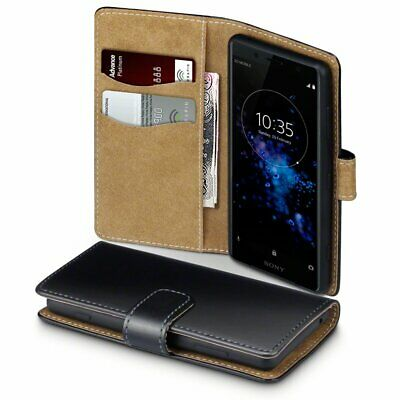AU14.24 • Buy PU Leather Wallet Premium Case Cover Black Tan For Sony Xperia XZ2 Compact