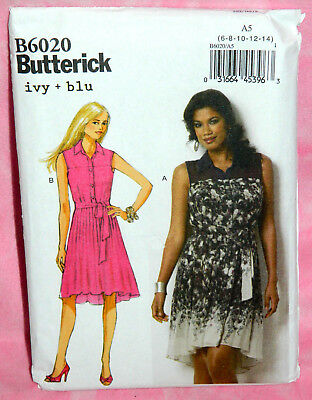 Uncut Butterick Misses 6-14 Front Button Pleated High-Low Dress Pattern 6020 • 4.31£