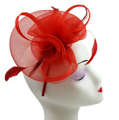 AU17.91 • Buy Elegant Headband And Clip Red Fascinator Wedding Races Royal Ascot Occasion