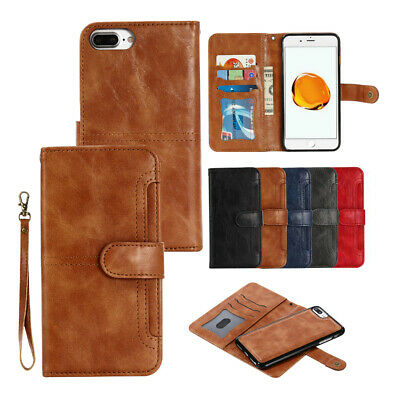 AU13.99 • Buy IPhone 6s 7 8 Plus Wallet Removable Case Magnetic Detachable Leather Card Cover