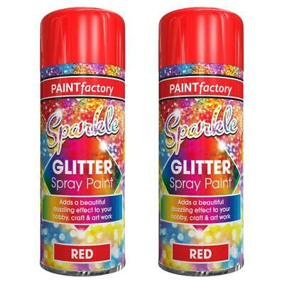 2X Red Glitter Spray Paint Decorative Creative Art Crafts Picture Frames 200ml • 9.79£