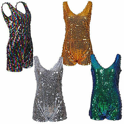 £15.95 • Buy Sequin Playsuit One Piece Party Dance Jumpsuit Festival All In One Multi Rave