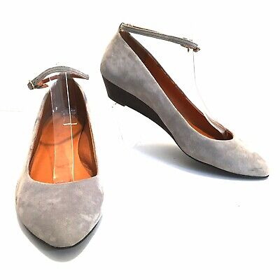 794a0828c14 Madewell 1937 Mini Wedge Gray Suede Flats Shoe Ankle Strap Pointed Toe Sz  8.5 • 18.89