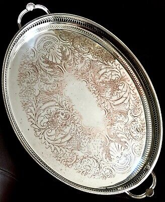 £125 • Buy Large Vintage/Antique  Cavalier  Silver Plated Galleried Tray (21 /54cm, 1.4kg)