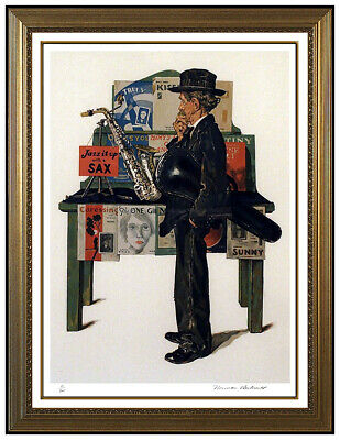 $ CDN3438.55 • Buy Norman Rockwell Jazz It Up Lithograph Hand Signed Saturday Evening Post Art SBO